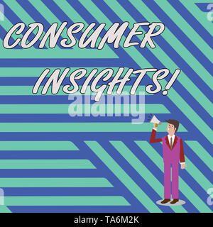 Word writing text Consumer Insights. Business photo showcasing understanding customers based on their buying behavior Businessman Looking Up, Holding  - Stock Photo