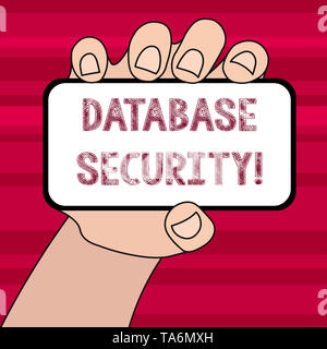 Conceptual hand writing showing Database Security. Concept meaning security controls to protect databases against compromises Closeup of Smartphone in - Stock Photo