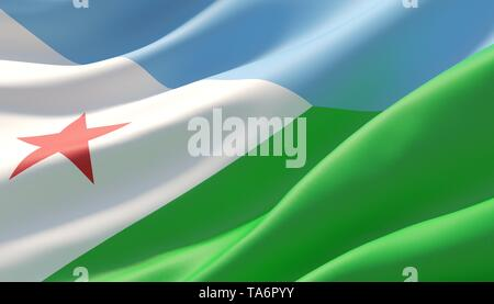 Waved highly detailed close-up flag of Djibouti. 3D illustration. - Stock Photo