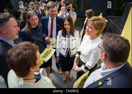 Glasgow, UK. 17 May 2019. Nicola Sturgeon, First Minister and leader of the Scottish National Party, launches the SNP's European Election Manifesto in the Barras in Glasgow's east end today.  The SNP want to stop Brexit and keep ties with our European neighbours and trading partners. - Stock Photo