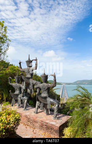 View from Thaksin folklore museum over the Thale Sap and Prem Tinsulanonda Bridge, Ko Yo, Songkhla, Thailand - Stock Photo