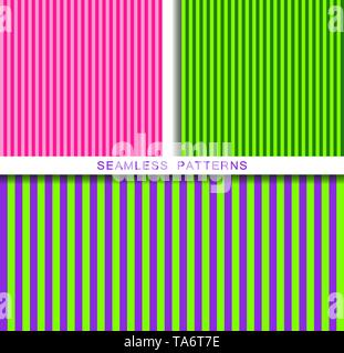Set of vector seamless patterns. Endless textures in plastic pink UFO green and proton purple colors. Bright abstract striped background. Summer - Stock Photo