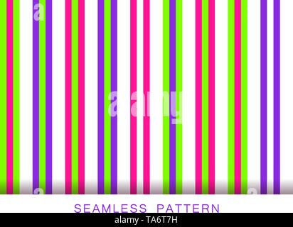 Vector seamless pattern. Endless textures in white plastic pink UFO green and proton purple colors. Bright abstract striped background. Summer - Stock Photo