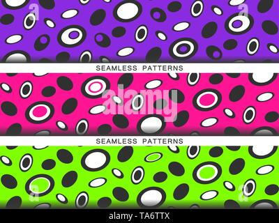Set of vector seamless patterns. Endless textures in plastic pink UFO green and proton purple colors. Bright abstract background with UFOs. Summer - Stock Photo