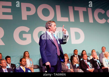 Nigel Farage, Leader of the Brexit Party, addressing a Rally at Olympia, London - Stock Photo