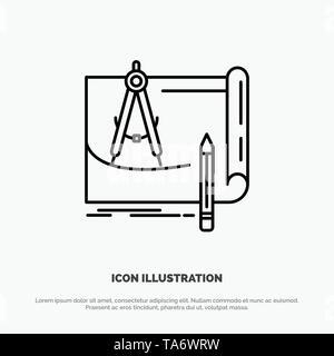 Blueprint, Architecture, Blueprint, Construction, Paper, Plan Line Icon Vector - Stock Photo