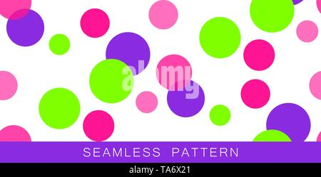Vector seamless pattern. Endless texture in plastic pink UFO green and proton purple colors.Abstract background with circles. Colourful positive - Stock Photo
