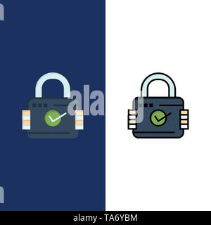 Lock, Padlock, Security, Secure  Icons. Flat and Line Filled Icon Set Vector Blue Background - Stock Photo