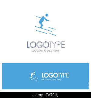 Activity, Ski, Skiing, Sportsman Blue Solid Logo with place for tagline - Stock Photo