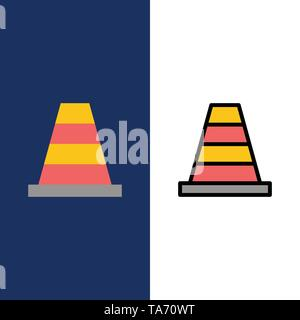 Cone, Construction, Tool  Icons. Flat and Line Filled Icon Set Vector Blue Background - Stock Photo