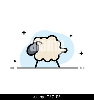 Lamb, Sheep, Wool, Easter  Business Flat Line Filled Icon Vector Banner Template - Stock Photo