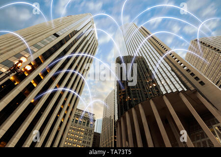 Conceptual image of digital data flowing - Stock Photo