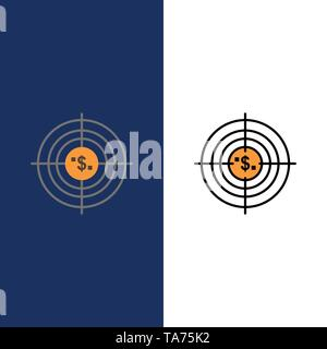 Target, Aim, Business, Cash, Financial, Funds, Hunting, Money  Icons. Flat and Line Filled Icon Set Vector Blue Background - Stock Photo