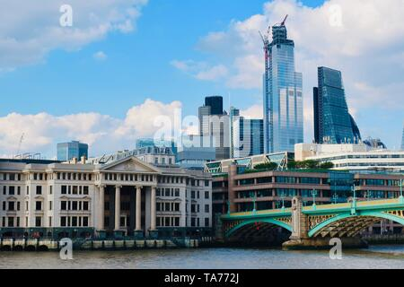 London, UK - 21 05 2019: City skyline, Blackfriars bridge and the River Thames, - Stock Photo