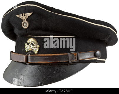 A visor cap for enlisted men/NCOs, 1st model in saucer shape depot piece from the Reichszeugmeisterei Fine black woollen cloth with white piping and black lacquered leather visor. Brown oilcloth liner with remnants of a large RZM tag, light leather sweatband of replacement material. Early metal insignia with vestiges of silvering, three piece brown leather chin strap. Size 56. historic, historical, 20th century, Editorial-Use-Only - Stock Photo