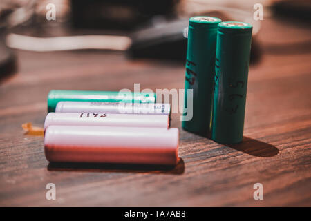 Colorful 18650 Lithium Ion Battery cell on a wooden table known for