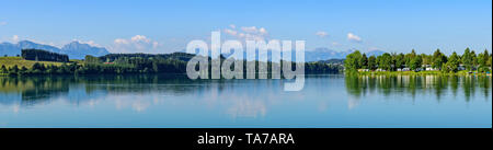 Summer morning at the idyllic Lech lake near Lechbruck in bavaria - Stock Photo