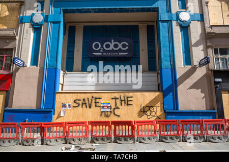 The O2 ABC, one of the businesses closed following the fire at the Glasgow School of Art, Sauchiehall Street, Glasgow city centre, Scotland, UK - Stock Photo