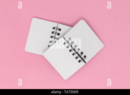 Two open notebooks on a pink background. - Stock Photo