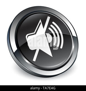 Mute volume icon isolated on 3d black round button abstract illustration - Stock Photo