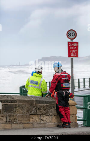 Coastguard Rescue Staff at Sandsend, Whitby, England, Saturday 4th May 2019, Tour de Yorkshire, mens race. - Stock Photo