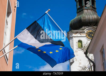 European Parliament Election, 2019, flag of Europe and Estonia waving together - Stock Photo