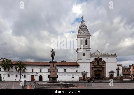 Santo Domingo Church, and the Monument of Mariscal Sucre. Quito, Ecuador - Stock Photo