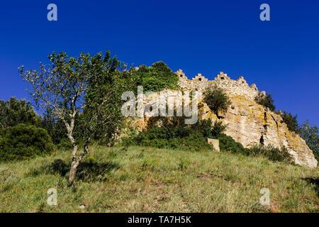Sunset at the Castle of Begur, Costa Brava - Stock Photo