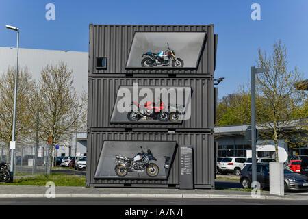 Show container, BMW Motorcycle work, in the Juliusturm, Spandau, Berlin, Germany, Schau-Container, BMW Motorradwerk, Am Juliusturm, Deutschland - Stock Photo