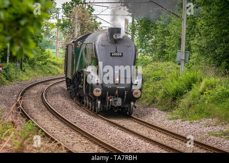 A4 Pacific heritage steam locomotive The Union of South Africa. Seen at Golborne junction on the West Coast Main Line. - Stock Photo
