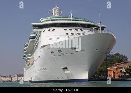 Big Cruise Ship Moored in Venice  Italy - Stock Photo