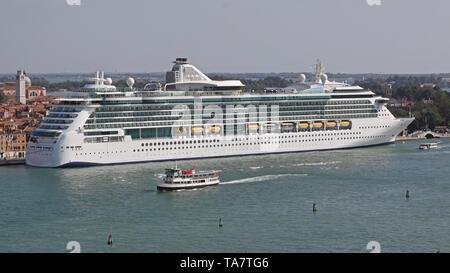 Big Cruise Ship Docked in Venice  Italy - Stock Photo