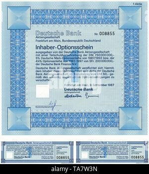 Historic stock certificate, Securities certificate, bearer warrant, Germany, Inhaber-Optionsschein für Aktien von der Deutschen Bank AG, Frankfurt a.M., Deutschland, 1987