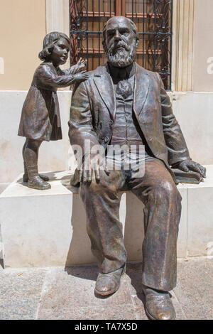 Cabra, Spain - May 19th, 2019: Bronze sculpture of Martin Belda, great 19th Century politician born in Cabra, Córdoba, Spain. Martín González Laguna - Stock Photo