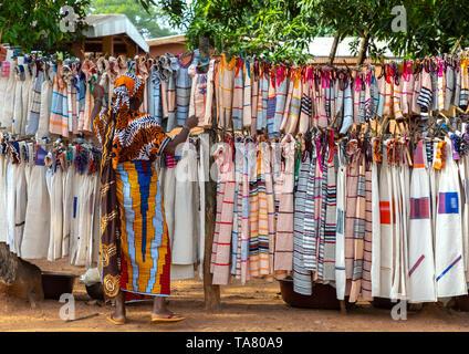 Senufo textiles and clothing at street market, Savanes district, Waraniene, Ivory Coast - Stock Photo