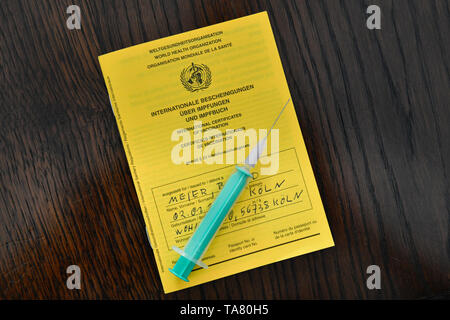 Vaccination book, symbolic photo vaccinations, Impfbuch, Symbolfoto Impfungen - Stock Photo