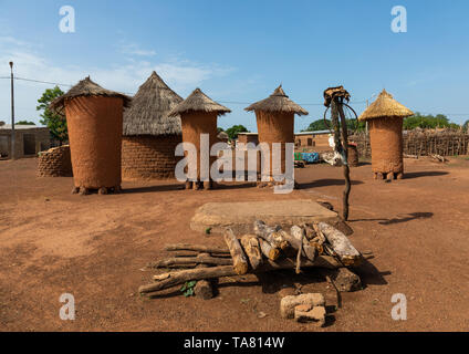 Granaries with thatched roofs in a Senufo village, Savanes district, Niofoin, Ivory Coast - Stock Photo