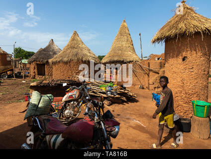 Granaries with thatched roofs, Savanes district, Niofoin, Ivory Coast - Stock Photo
