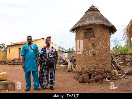 Young men attending the Poro society age-grade initiation in Senufo tribe during a ceremony, Savanes district, Ndara, Ivory Coast - Stock Photo