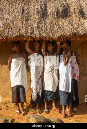Dan tribe young women during a ceremony, Bafing, Gboni, Ivory Coast - Stock Photo
