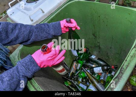 Coloured glass, old glass tonne, Berlin, Germany, Buntglas, Altglastonne, Deutschland - Stock Photo