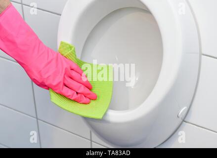 Cleaning, bathroom, Urinal, Reinigung, Badezimmer - Stock Photo
