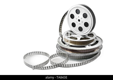 Obsolete media. Film in coils isolated on white background. - Stock Photo