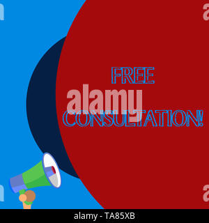 Handwriting text Free Consultation. Conceptual photo meeting to discuss something or to get advice without fee Old design of speaking trumpet loudspea - Stock Photo