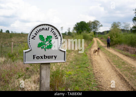 Foxbury National trust silver sign, Foxbury is 150 hectare site of heathland and woodland that protects wildlife and is closed to the public. - Stock Photo