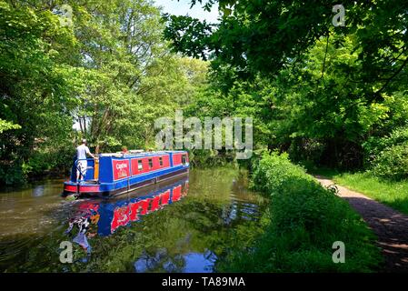 A narrow boat cruising on the River Wey navigation canal on a summers day, Byfleet Surrey England UK - Stock Photo