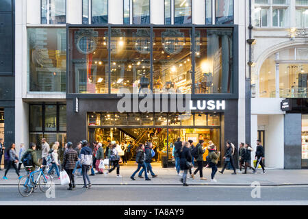 13th March 2017. Westminster, London, UK. Exterior of Lush cosmetics retail store on Oxford Street, London, UK - Stock Photo