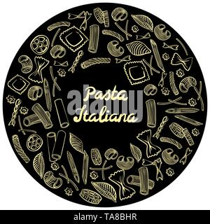 Round frame with italian macaroni of different kinds. light yellow coloured hand draw on black background. Vector illustration - Stock Photo
