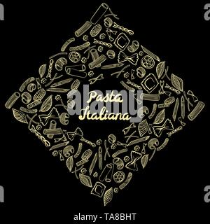 Square frame with italian macaroni of different kinds. light yellow coloured hand draw on black background. Vector illustration - Stock Photo