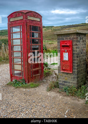 Old Post box and Telephone box at Birling Gap, Eastbourne, UK - Stock Photo